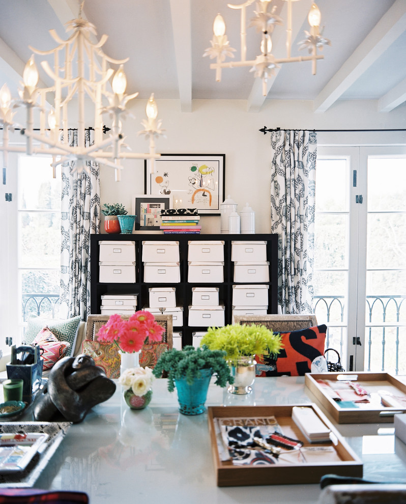 Ornament Storage Box Home Office Eclectic with Balcony Bold Colors Bookcase Bright Colors Chandelier Curtains Decorative Pillows Drapes Exposed