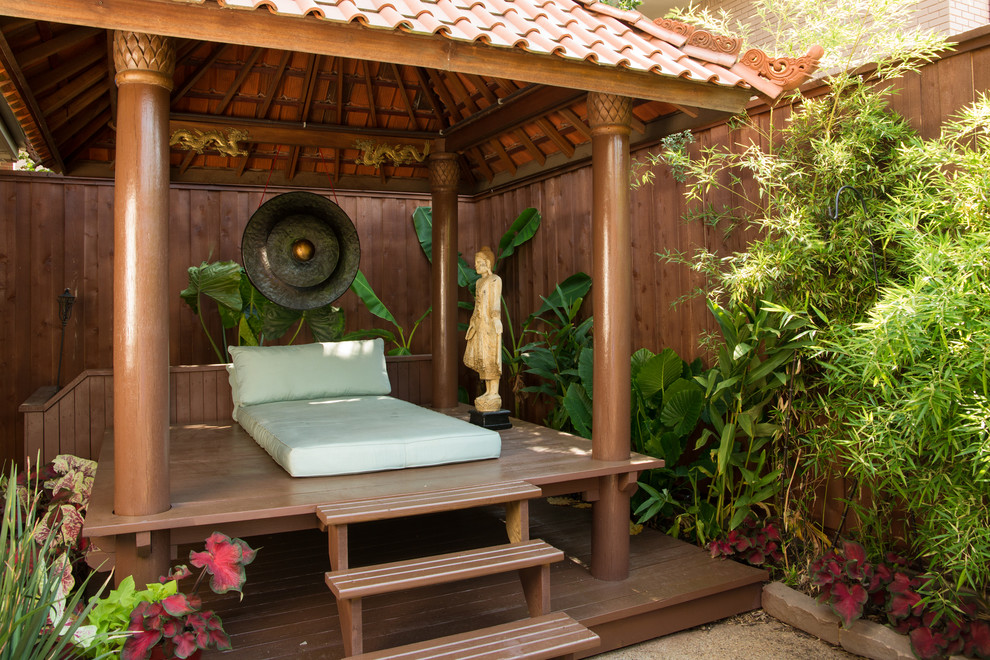 Osaki Massage Chair Deck Asian with Asian Deck Lounge Seating Bamboo Clay Tile Roof Covered Deck Human Statue