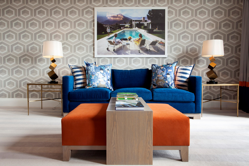 Ottoman Coffee Table Living Room Contemporary with Abstract Lamps Blue Blue Cushions Blue Sofa Blue Velvet Bright Blue Couch