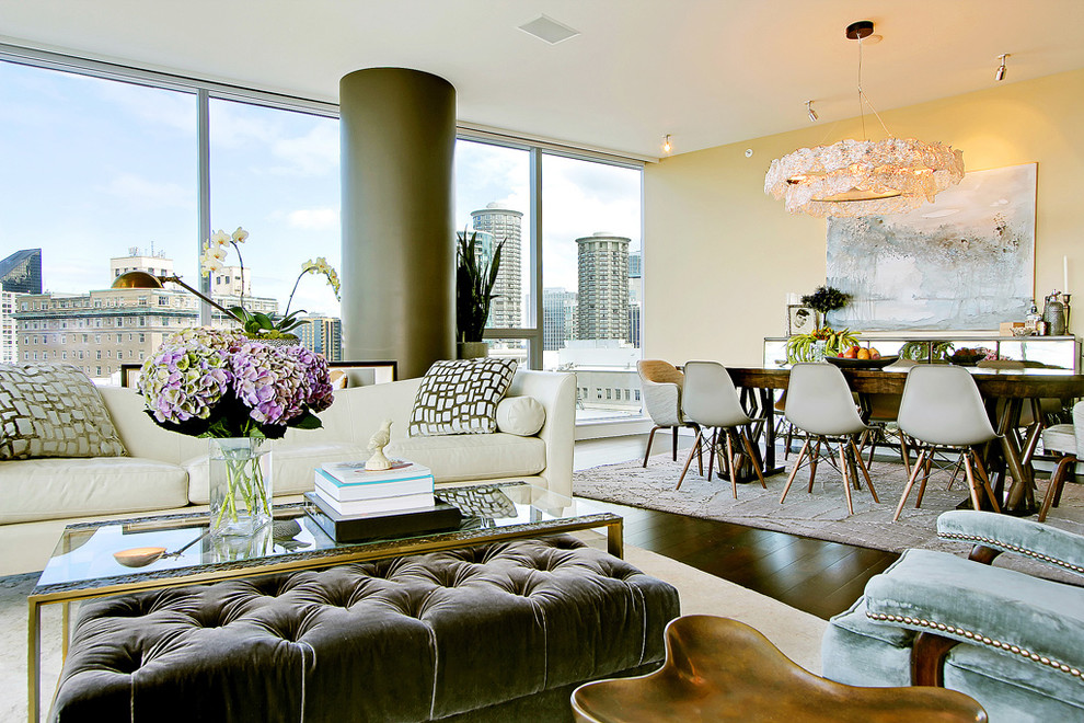 Ottoman Coffee Table Living Room Contemporary with Artwork Beige Wall Chandelier City View Eclectic Glamorous Glass Coffee Table Modern
