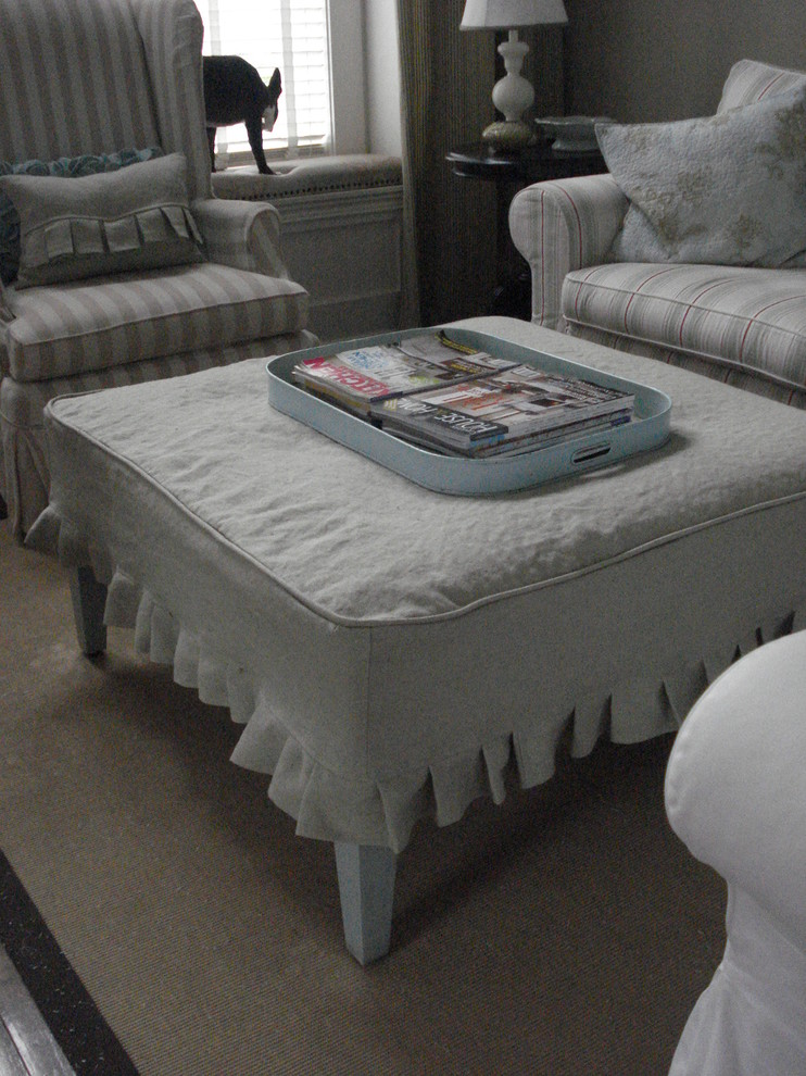 Ottoman Slipcover Living Room Traditional with Beach Style Nantucket Inspired Slipcovers 1