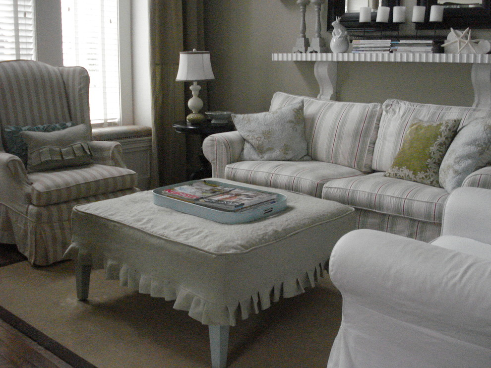 ottoman slipcovers Living Room Traditional with beach style nantucket inspired slipcovers