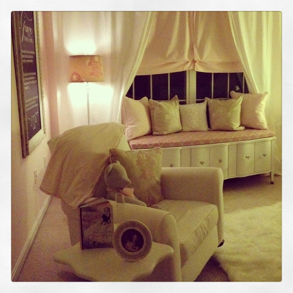 Ottoman Storage Bench Bedroom Traditional with Baby Girl Baby Girl Nursery Bedroom Beige Beige and Pink Girl Girl