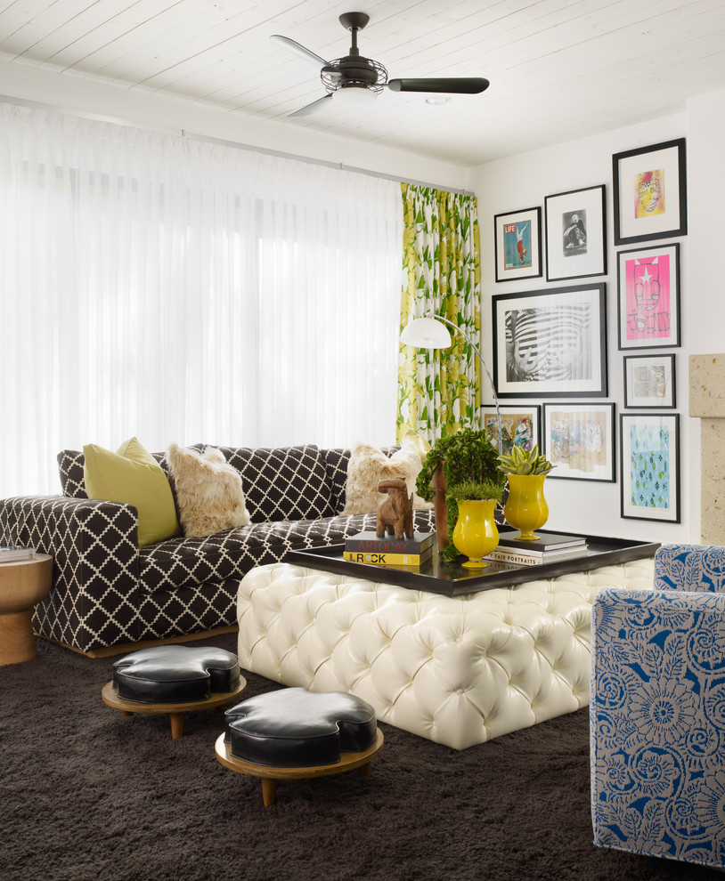 Ottoman Trays Family Room Contemporary with Black and White Sofa Black Ceiling Fan Black Leather Stools Black Tray