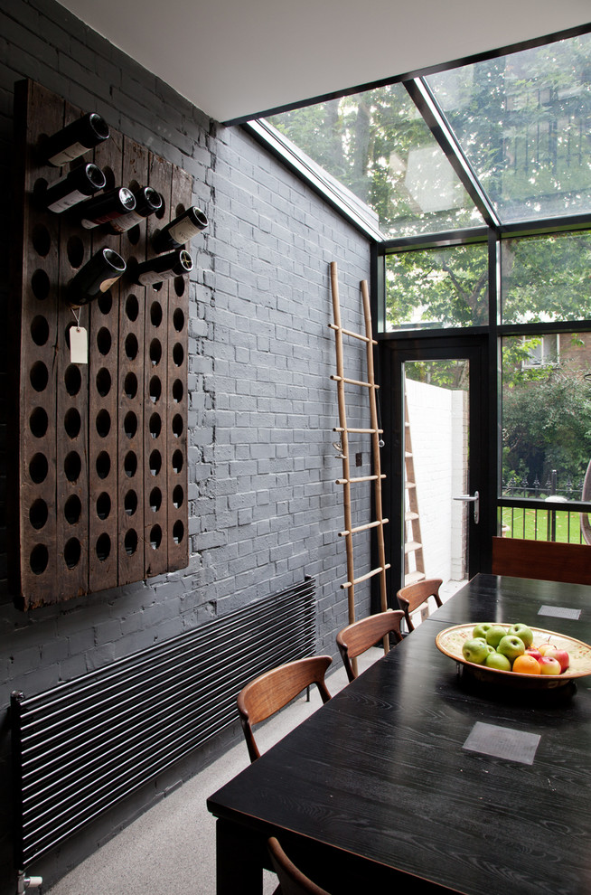 Outdoor Bakers Rack Dining Room Contemporary with Exposed Brick Glass Extension Gray Brick Gray Wall Hans Wegner Kitchen Kitchen