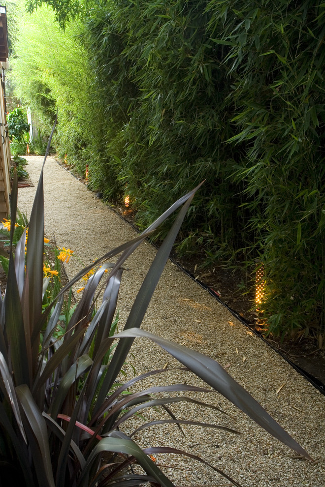 Outdoor Bamboo Shades Landscape Contemporary with Bamboo Gravel Outdoor Lighting Path Planter Side Yard Walkway Wall