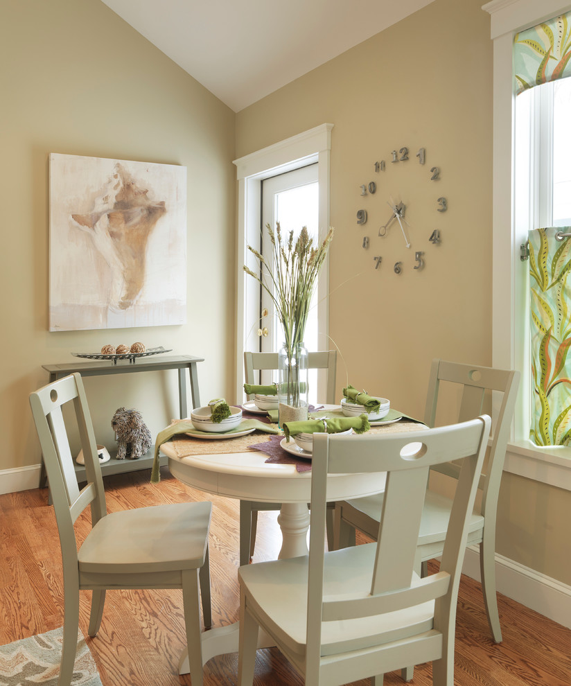 Outdoor Clock Thermometer Dining Room Contemporary with Beige Dining Chair Beige Dining Table Beige Molding Beige Trim Beige Wall