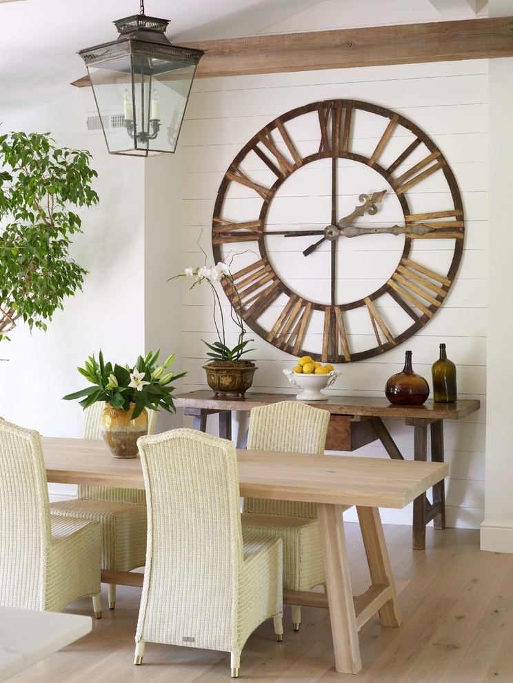 Outdoor Clock Thermometer Dining Room Transitional with Bowl of Lemons Charming Exposed Beams Glass Jugs Indoor Tree Large Clock