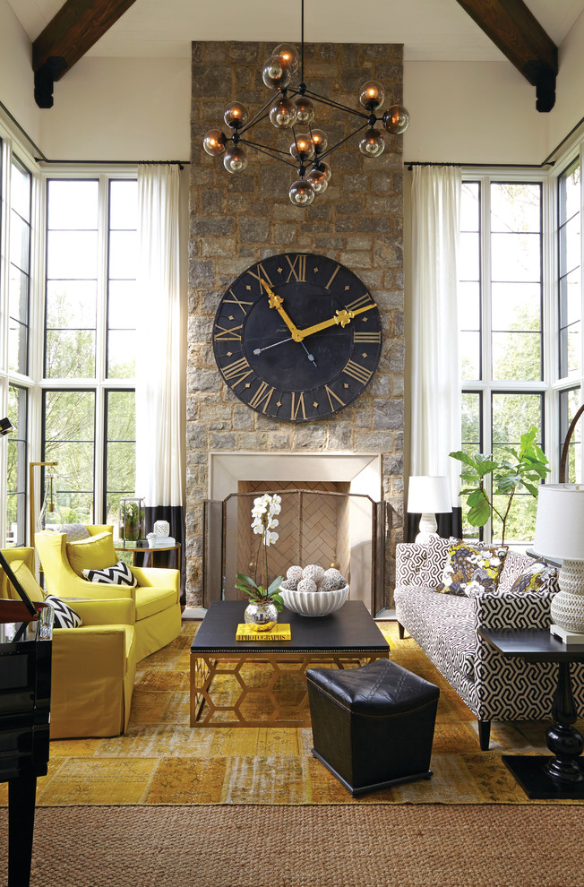 Outdoor Clock Thermometer Living Room Transitional with Chandelier Chevron Pillow Dark Wood Ceiling Beams Double Height Windows High Ceiling