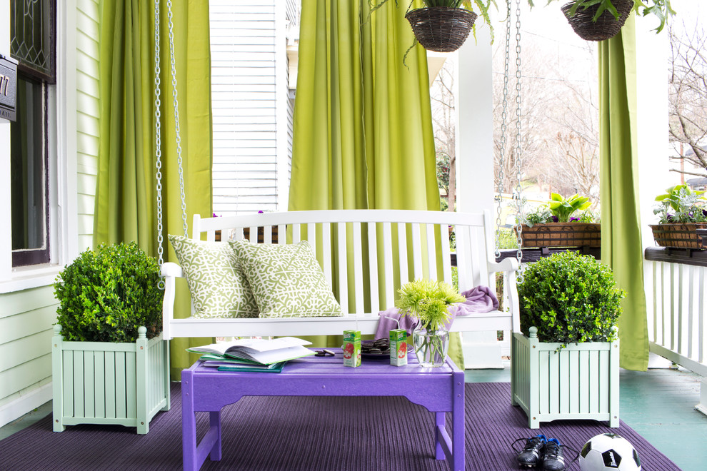 outdoor curtain panels Porch Eclectic with none