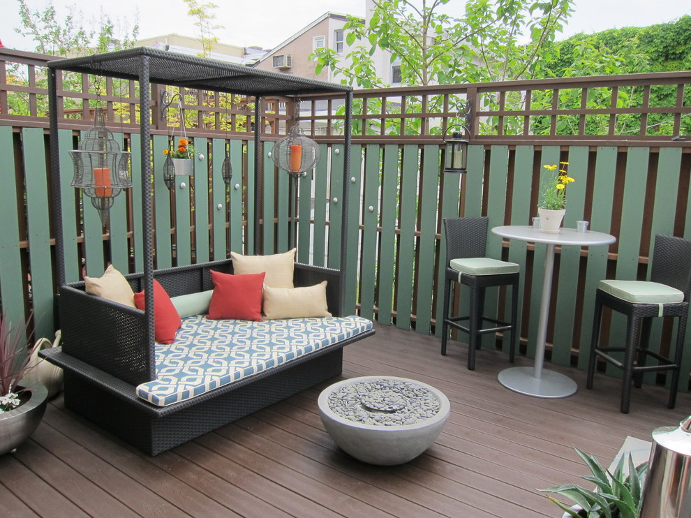 Outdoor Daybed Deck Transitional with Bar Table Cafe Table Day Bed Deck Decorative Pillows Lanterns Outdoor Cushions