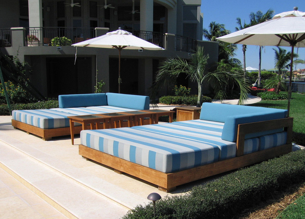 Outdoor Daybed Patio Tropical with Blue Cushions Chaise Longue Chaise Lounge Daybed Palm Trees Patio Furniture Patio