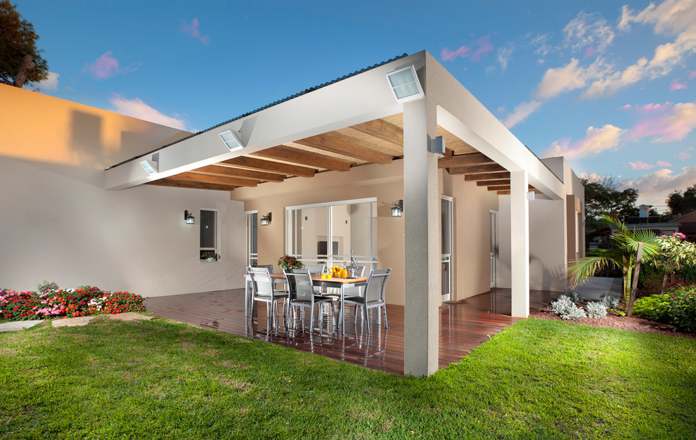 Outdoor Flood Lights Deck Modern with Cabana Covered Patio Deck Exposed Beams Flat Roof Geometric Geometry Glass Doors