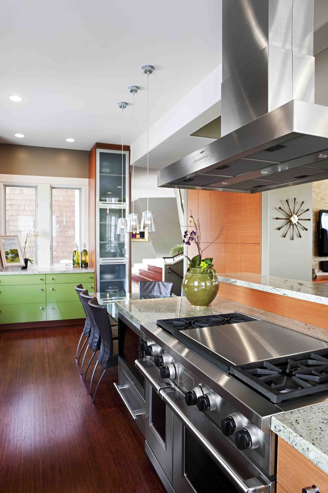 Outdoor Griddle Kitchen Contemporary with Back Painted Glass Cherry Frosted Glass Glass Hood Lime Green Mohagany Pendants