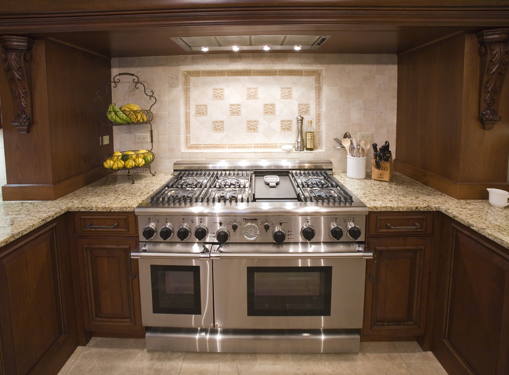 Outdoor Griddle Kitchen Traditional with Accent Tiles Brookhaven Cherry Wood Dark Wood Dark Wood Cabinets Enkeboll Corbels