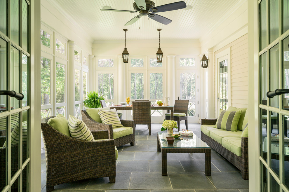 Outdoor Loveseat Porch Traditional with Armchair Beadboard Ceiling Bluestone Ceiling Fan Coffee Table Column Five Blade Ceiling
