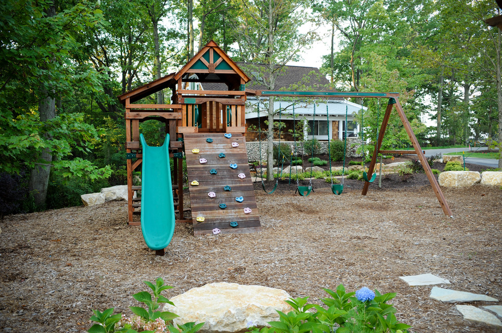 Outdoor Playsets Kids Eclectic with Boulder Cedar Shakes Climbing Wall Cottage Exterior Jungle Gym Lake House Lake