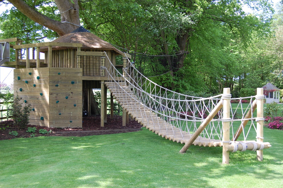 Outdoor Playsets Kids Traditional with Bridge Footbridge Log Bridge Play House Rock Climbing Wall Suspension Bridge Tree