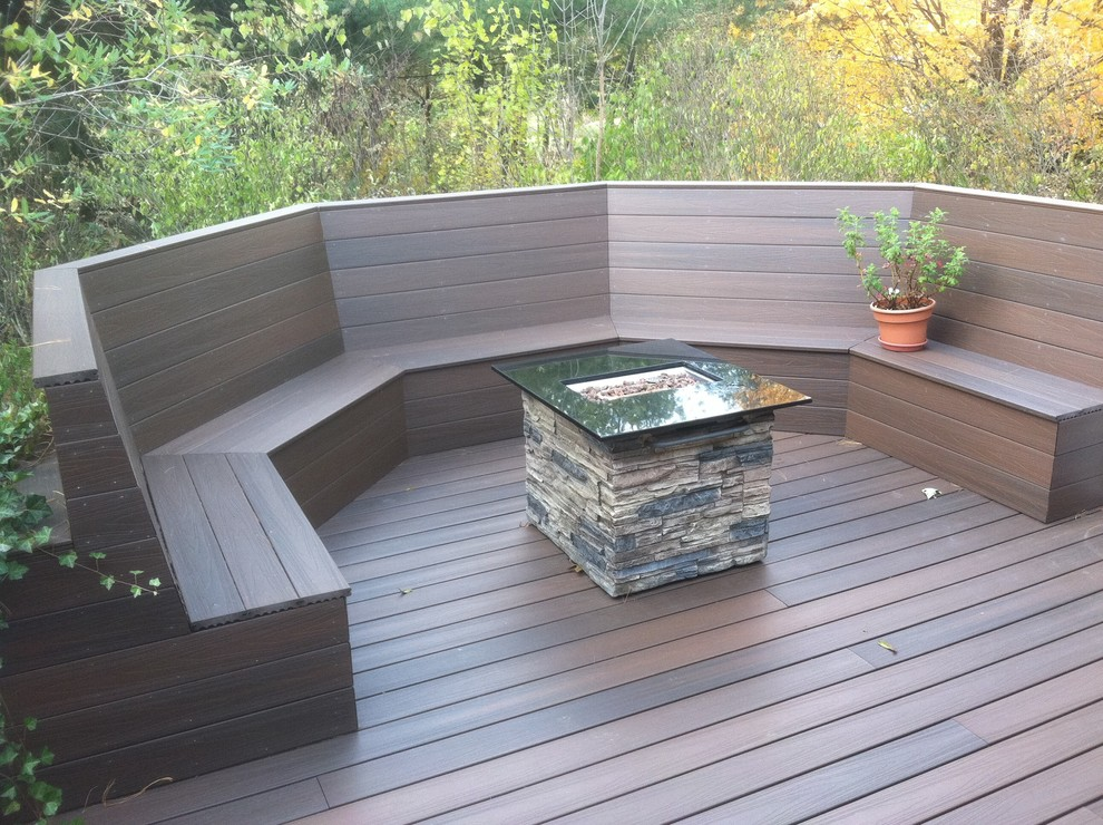 outdoor propane fire pit Deck with Brazilian walnut pattern built in bench composite decking flower pot maintenance free