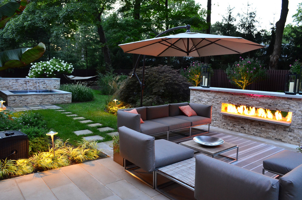 Outdoor Propane Fireplace Landscape Transitional with Auto Pool Cover Fire Feature Fireplace Garden Lighting Glass Fence Glass Tile