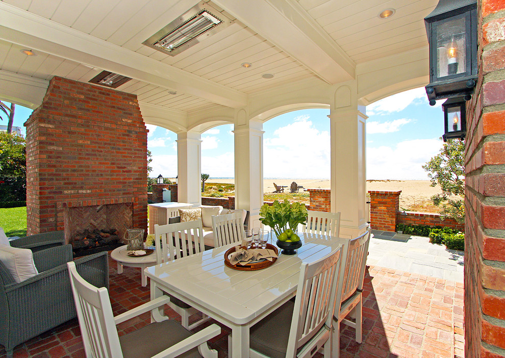 Outdoor Propane Heaters Patio Traditional with Beach Brick Cottage Custom Detail Dining Fireplace Oceanfront Outdoor Dining Chairs Outdoor