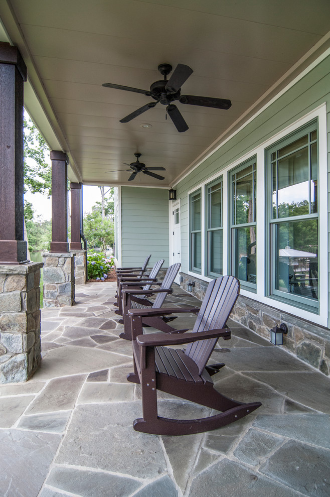 Outdoor Rockers Porch Traditional with Adirondack Chairs Ceiling Fan Columns Covered Flagstone Outdoor Rocker Stone Stone Pillars