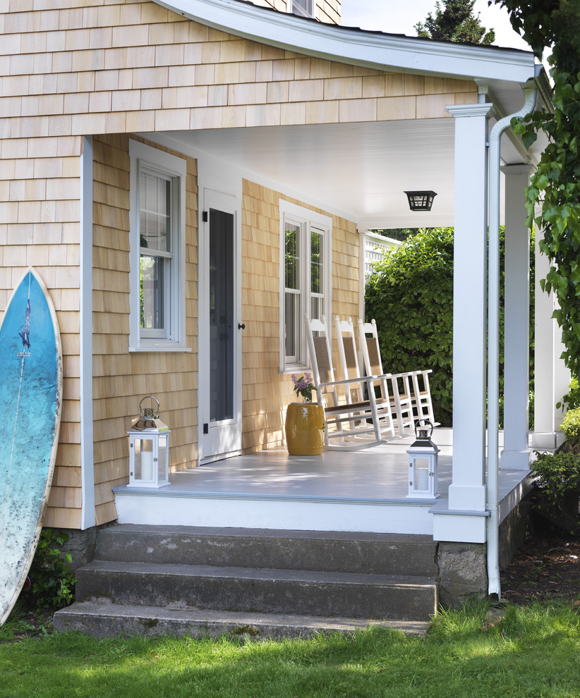 Outdoor Rocking Chairs Porch Beach with Cement Step Gray Porch Grey Porch Light Wood Exterior Light Wood Shingles