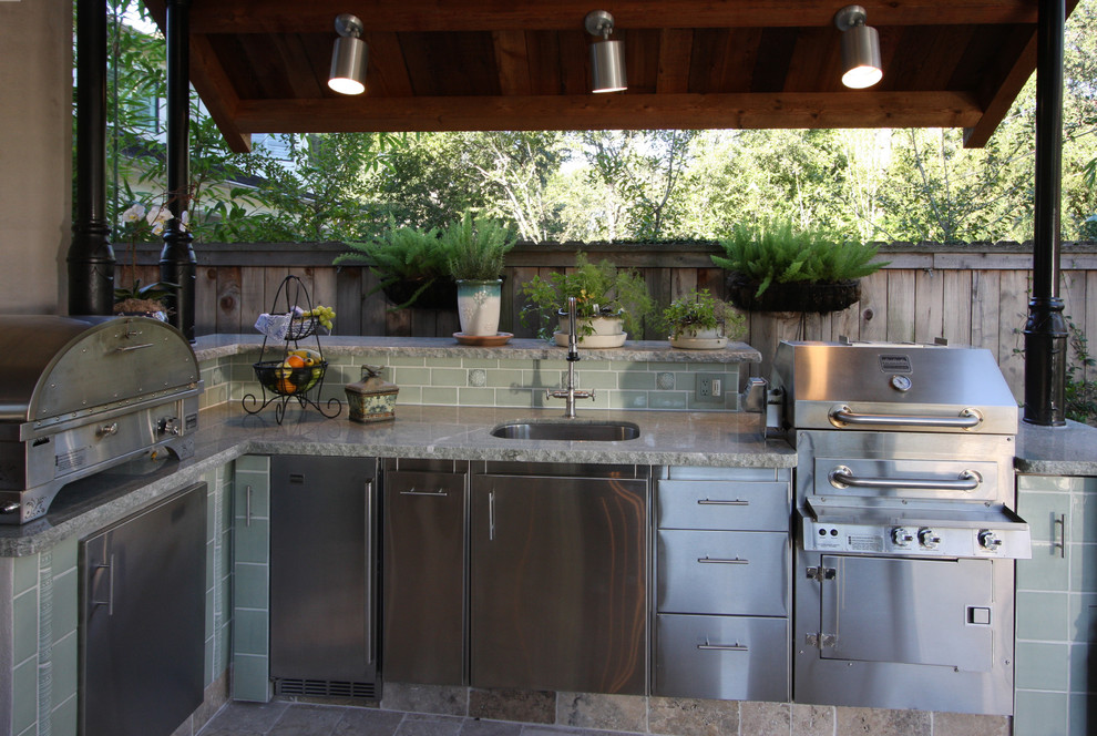 outdoor spotlights Patio Transitional with barbecue ceiling lighting container plants ferns green tiles kitchen island outdoor kitchen