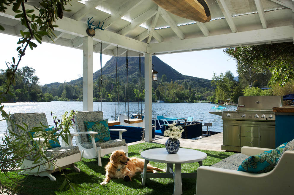 Outdoor Swing with Canopy Deck Rustic with Astroturf Bbq Blue Patio Blue Pillows Blue Porch Boat Chaise Lounge Covered