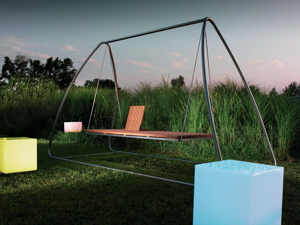 Outdoor Swing with Canopy Landscape Modern with Bench Blue Fluorescent Grass Green Lawn Neon Outdoor Furniture Outdoor Lighting Outdoor