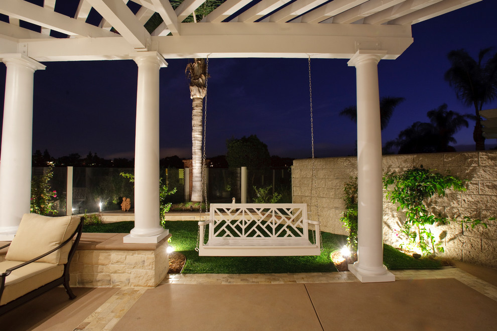Outdoor Swing with Canopy Patio Traditional with Accent Lighting Artificial Lawn Beige Patio Floor Columns Concrete Covered Patio Fake