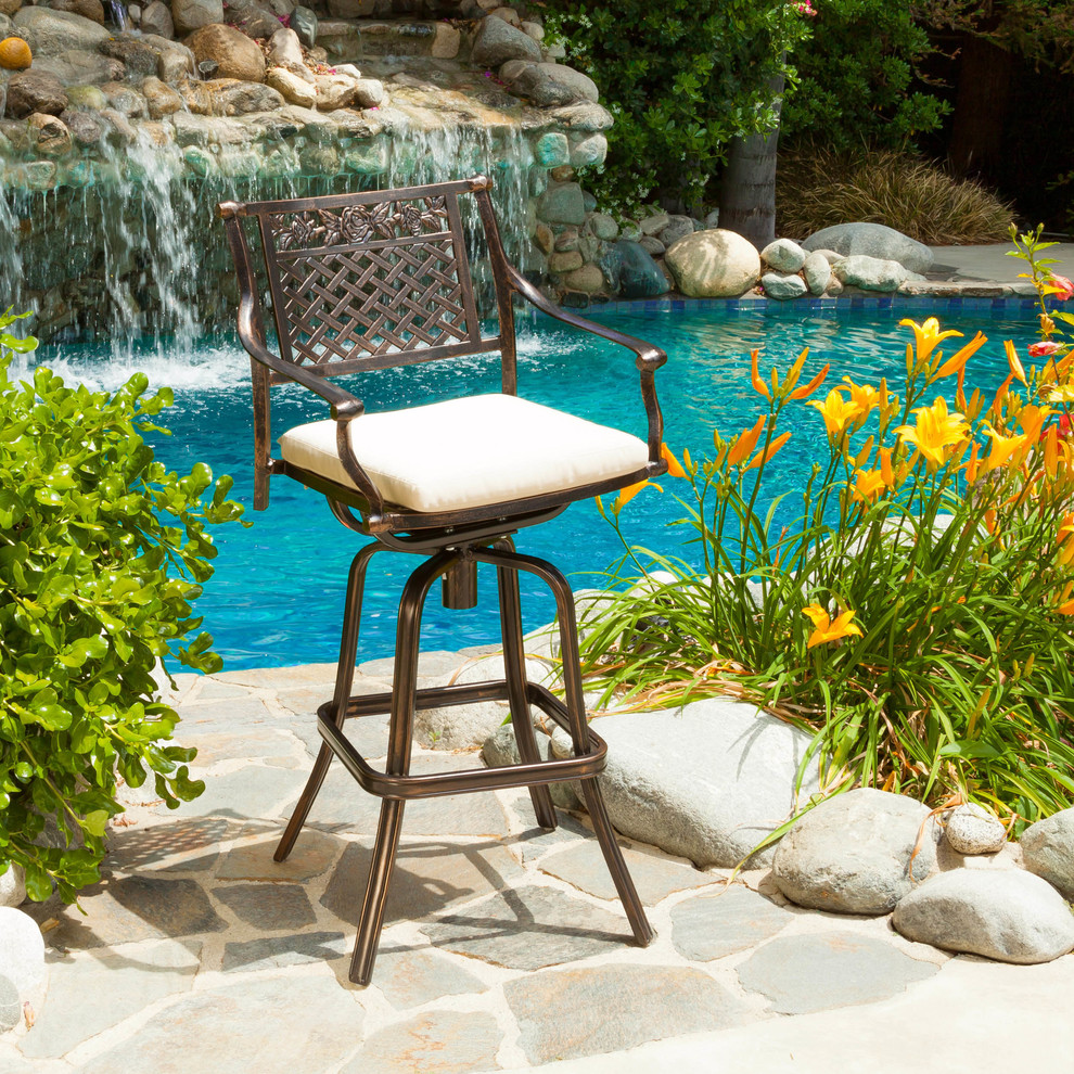 Outdoor Swivel Bar Stools Spaces Contemporary with Bar Stool Contemporary Copper Outdoor Living Seating Stool Swivel with Cushion