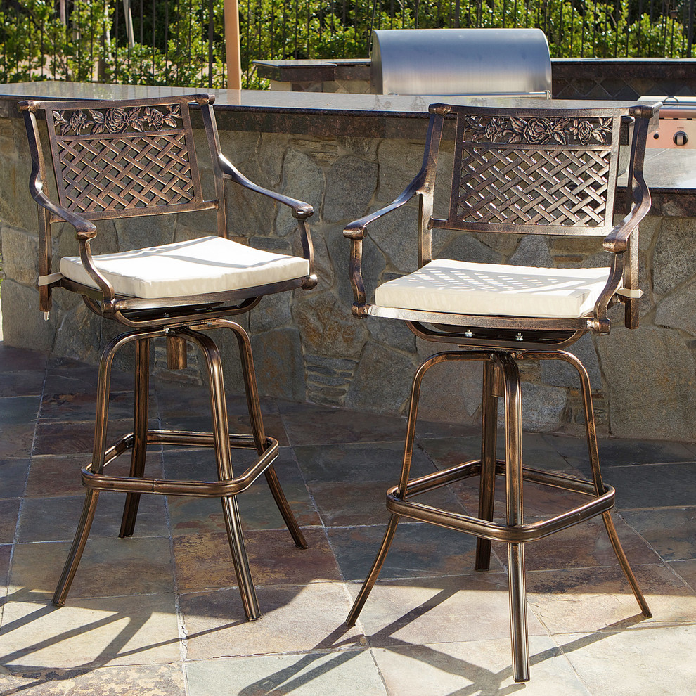 Outdoor Swivel Bar Stools Spaces Contemporary with Bar Stools Cast Aluminum Contemporary Outdoor Seating Patio Set of 2