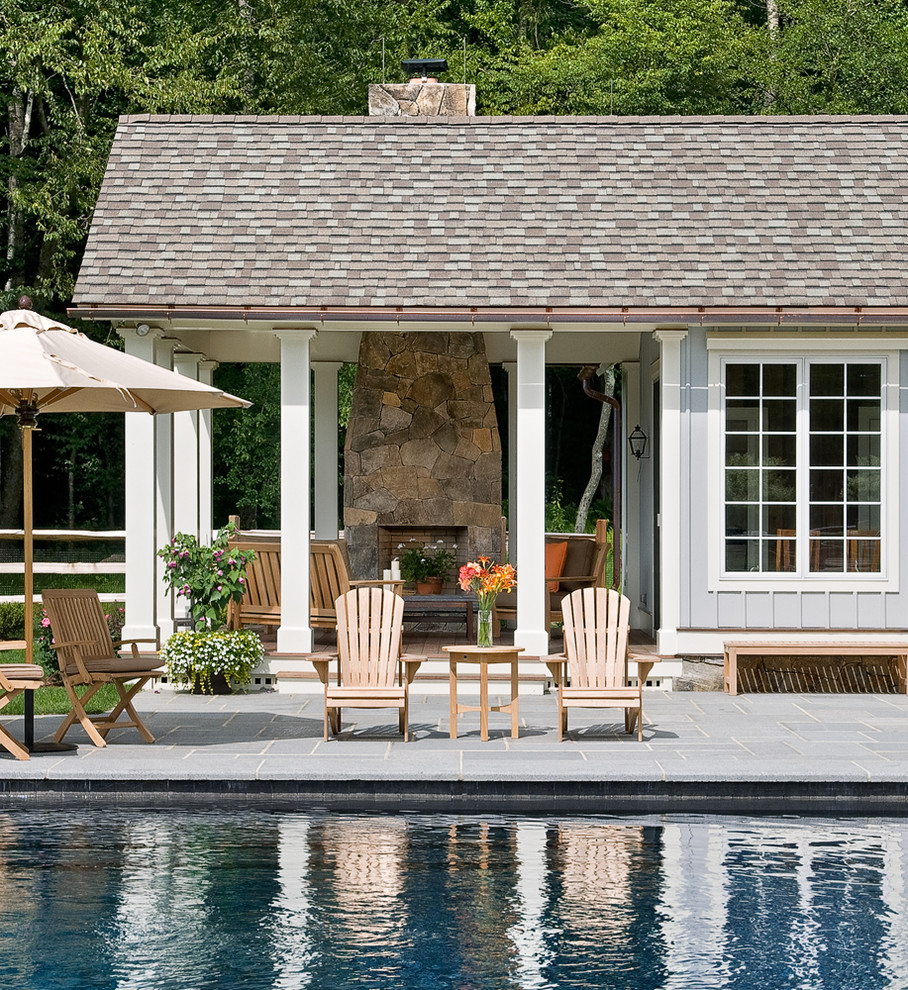 Outdoor Umbrella Stand Pool Farmhouse with Adirondack Chairs Colorful Pillows Country Home Farmhouse Fireplace Full Height Fireplace Landscaping