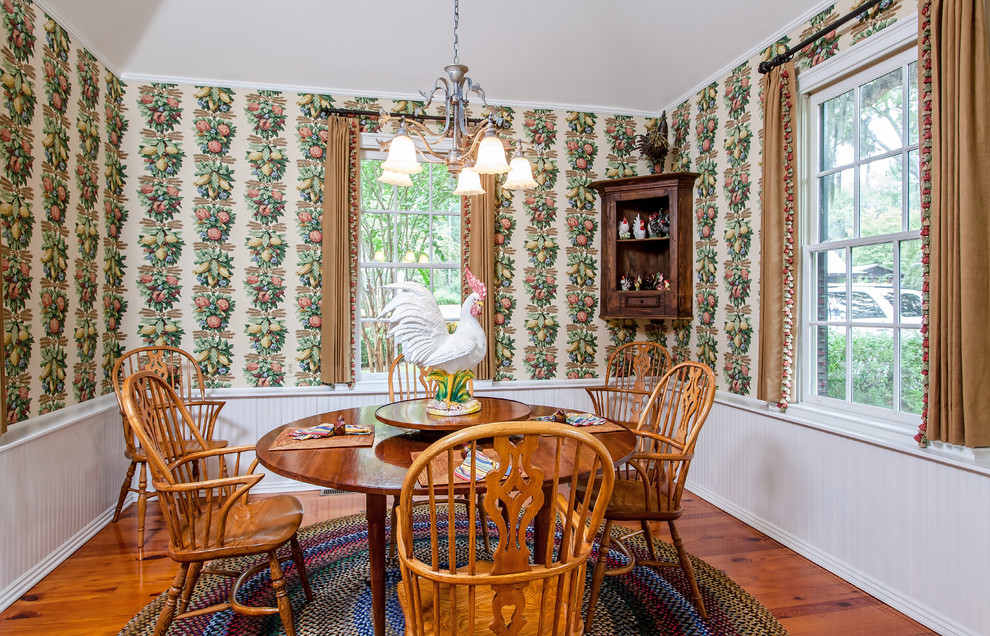 Oval Area Rugs Dining Room Traditional with Breakfast Room Chandelier Corner Cabinet Country Curtains Heart Pine Floors Open Dining