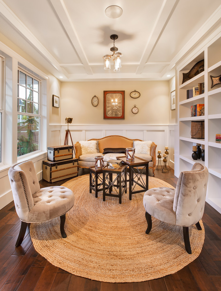 oval area rugs Family Room Traditional with beige wall box beam built-ins CEILING LIGHT clocks coffee table cushions den