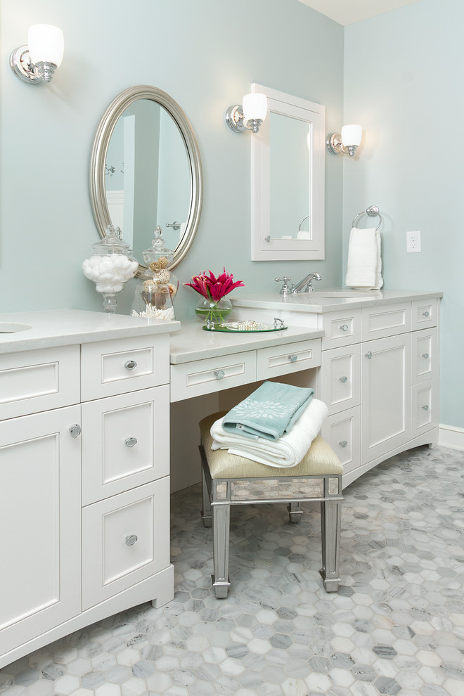 oval bathroom mirrors Bathroom Traditional with double bathroom sink double bathroom vanity glass canisters gray wall medicine cabinet