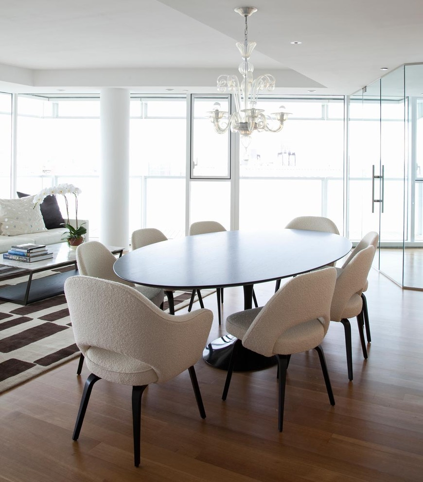 Oval Placemats Dining Room Contemporary With Carinilang Chair Chandelier  Dark Wood Floor Floor To Ceiling Windows