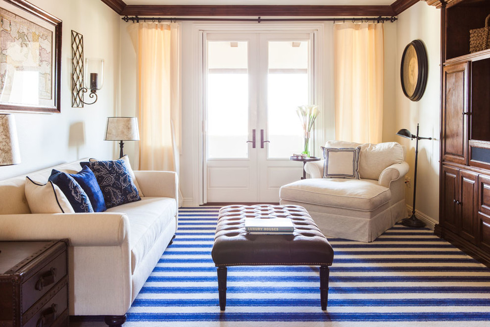 Oversized Chairs Living Room Traditional with Blue and White Blue and White Striped Rug Blue and White Stripes