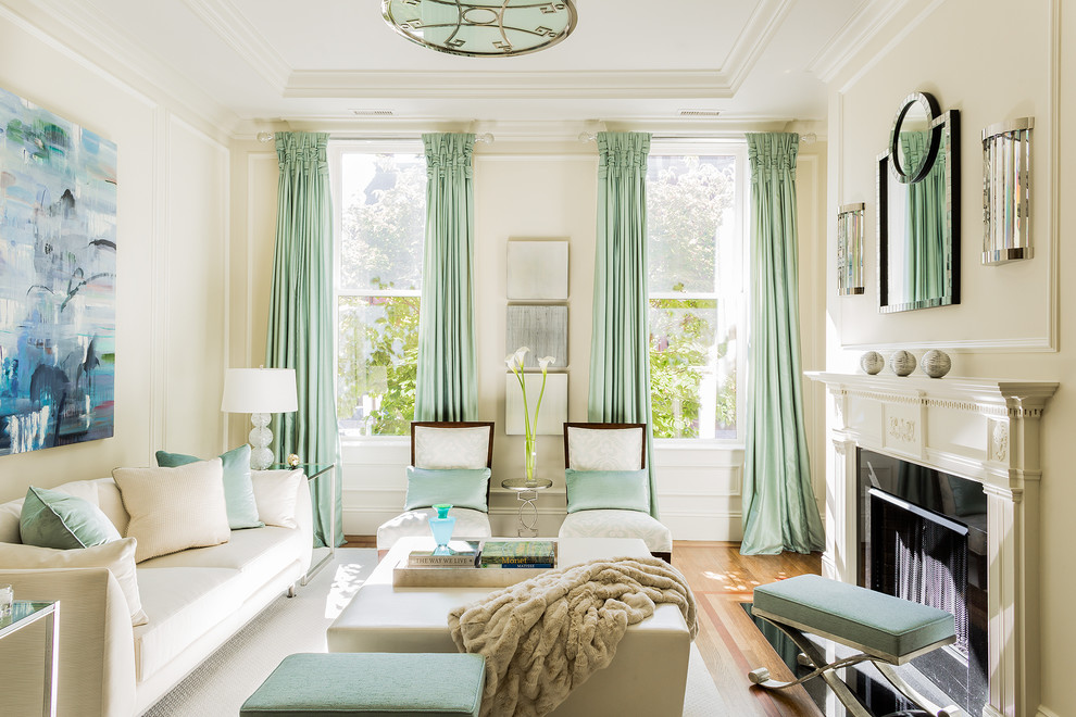 Oversized Ottoman Living Room Transitional with Area Rug Ceiling Light Drapes Mantel Mint Green Neutral Sofa Wall Art