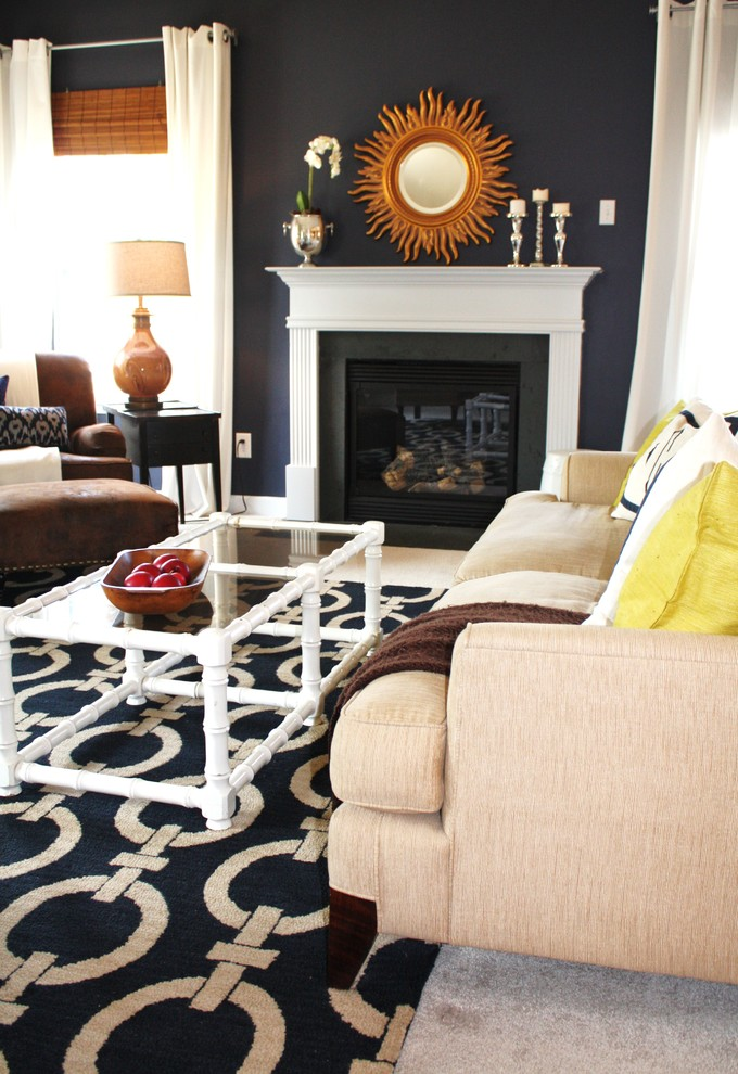 Oversized Rugs Living Room Contemporary with Area Rug Dark Walls Glass Coffee Table Key Rug Navy Blue Walls