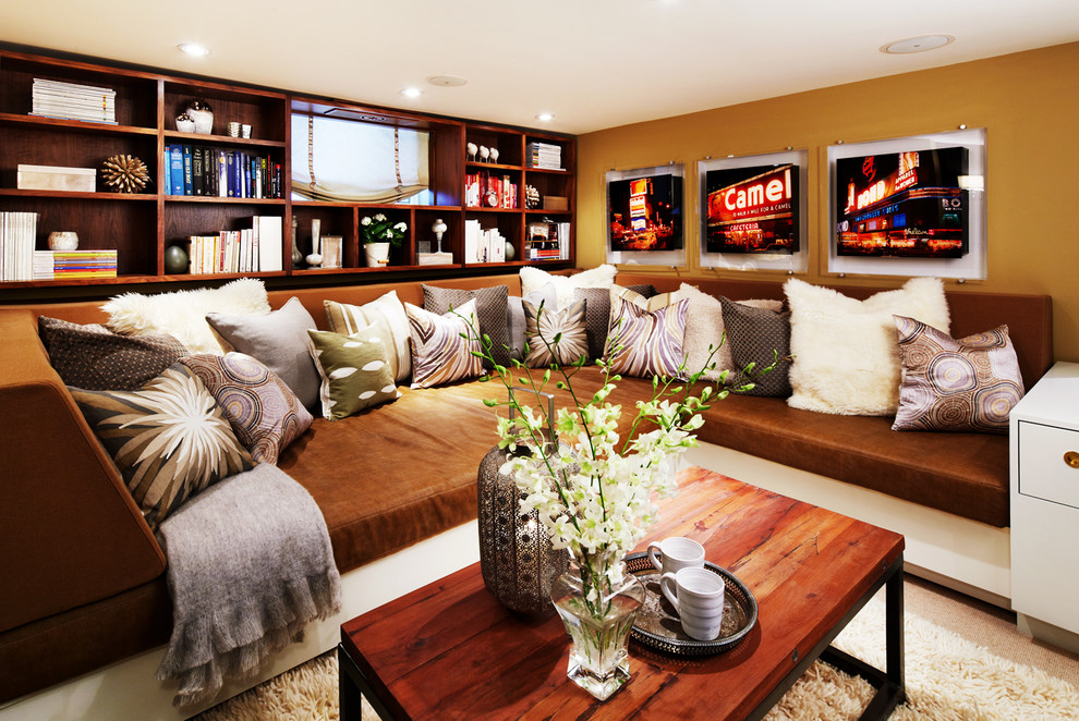oversized sofa Living Room Contemporary with beige roman shade brown sofa Brown throw Pillows brown wall built ins