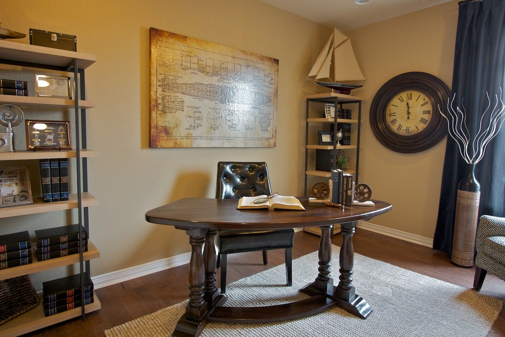 Oversized Wall Clock Home Office Traditional with Antiques Blue Drapes Blues Books Clock Creams Curved Desk Desk Tagre Home