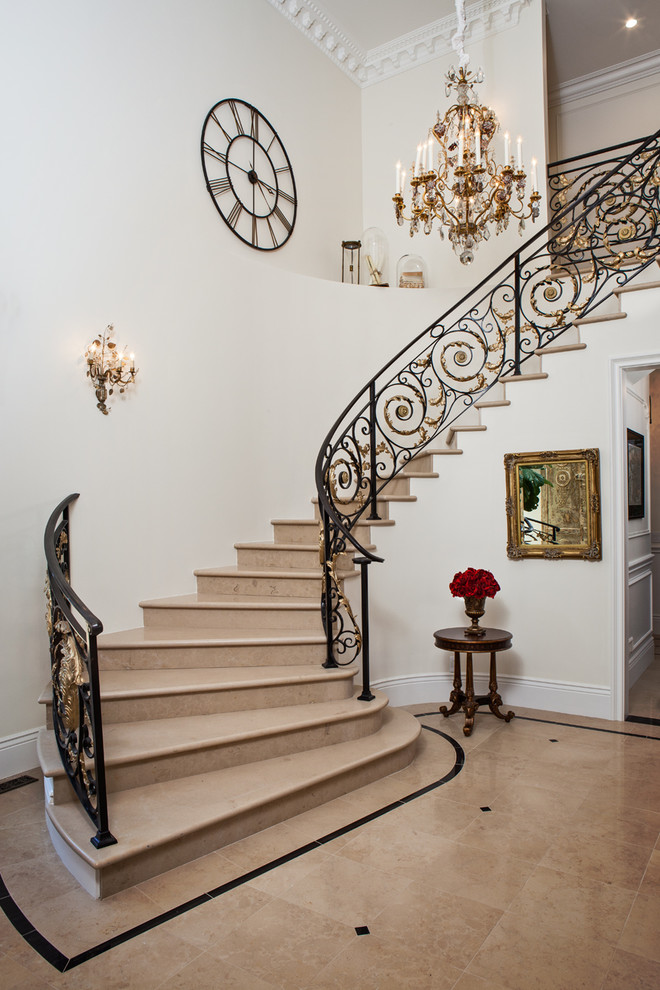Oversized Wall Clock Staircase Mediterranean with Chandelier Gold and Iron Iron Banister Molding Open Wall Clock Wall Sconces