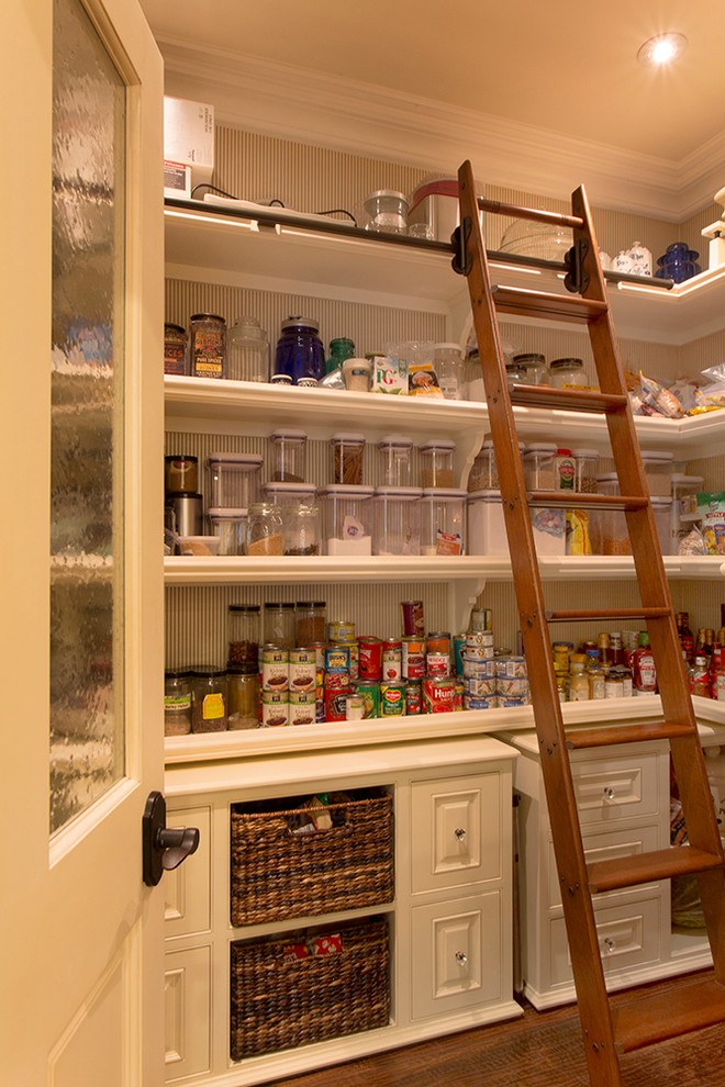 Oxo Pop Containers Kitchen Traditional with Basket Storage Canisters Crown Molding Jars Ladder Open Shelving Raised Panel Woodwork
