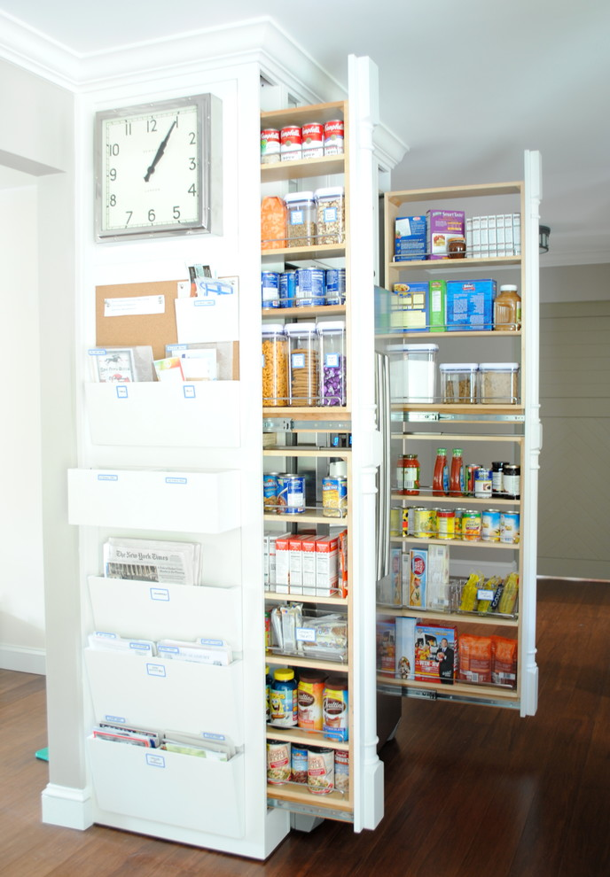 Oxo Pop Containers Kitchen Transitional with Built in File Cabinet Built in Paper Storage Clock Dark Wood Floor Food Pantry