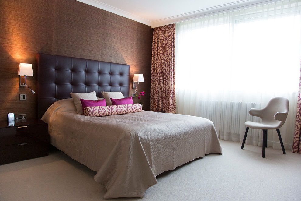 Padded Headboard Bedroom Contemporary with Bedroom Chairs Boutique Hotel Bedroom Central London Dark Feature Wall Grass Wallpaper1