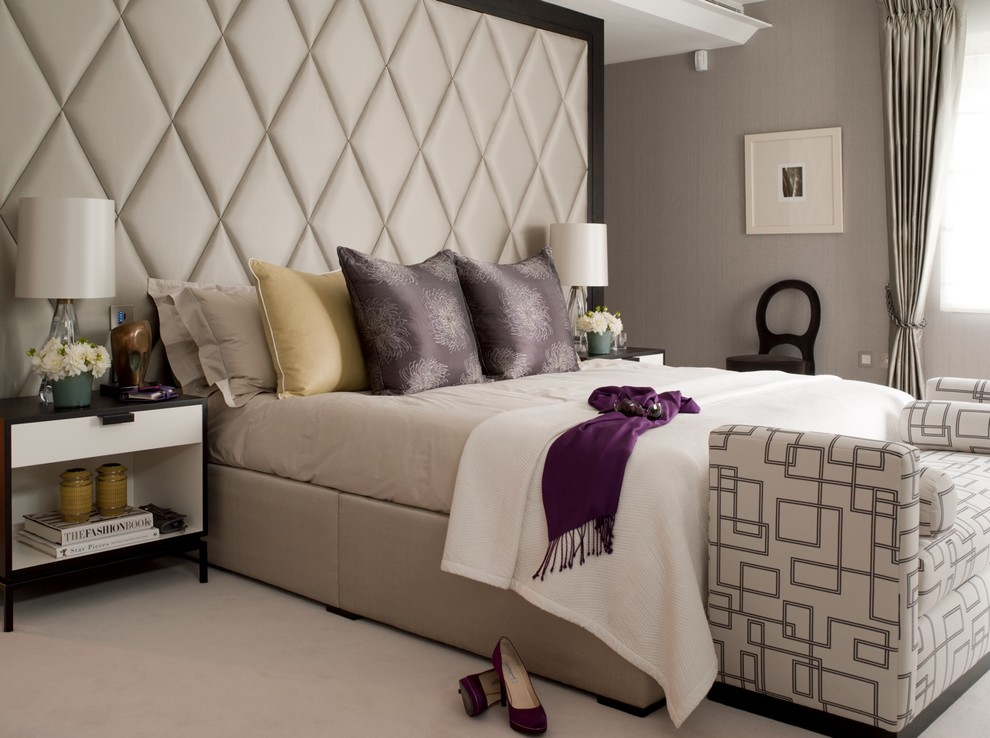 Padded Headboard Bedroom Transitional With Bed Scarf Beige Bed Beige Bedding Black And White Nightstand Diamond Upholstery