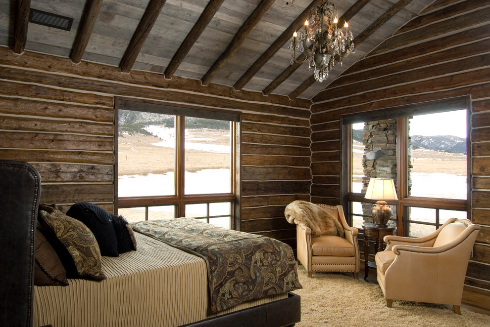 Paisley Bedding Bedroom Rustic with Area Rug Armchairs Brown Crystal Chandelier Large Windows Log Cabin Paisley Bedding