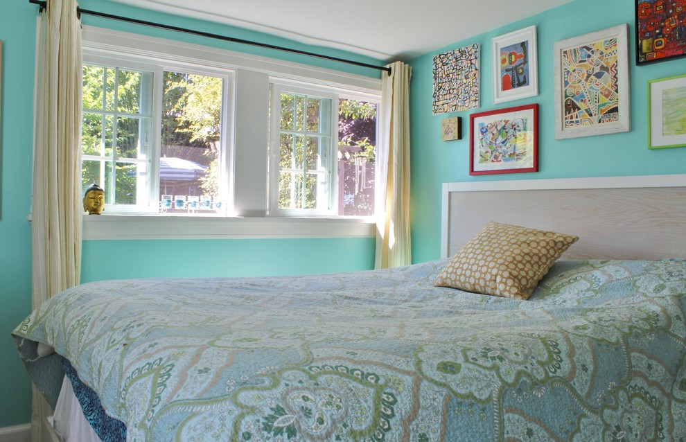 paisley quilt Bedroom Shabby chic with blue walls gallery wall My Houzz paisley quilt robins egg blue sliding